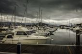 Numerous boats and yachts moored in the harbor — Stock Photo
