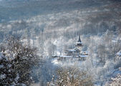 Winter morning in village — Stock Photo