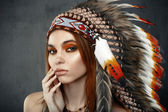 Lady in the Indian roach — Stock Photo