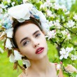 Sensual woman in floral wreath — Stock Photo #73096325