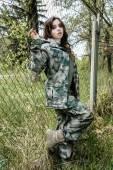 Beautiful army woman — Stock Photo