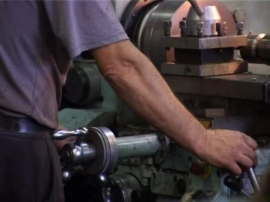 Work on  machine in workshop — Vídeo Stock