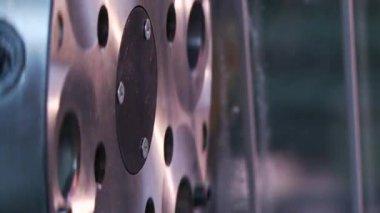 Rotation of  flywheel in machine — ストックビデオ