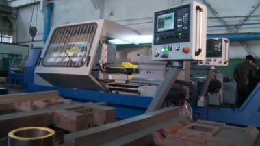 Lathe work on factory — Stok video