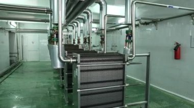 Equipment on  dairy factory — Stock Video