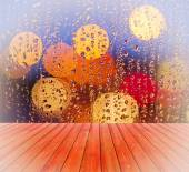 Empty table with blurred, window, rain drops  background, for product display template — Stock Photo