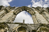 St Marys Abbey ruin,view of old wall in York, England, United Kingdom — Stock Photo