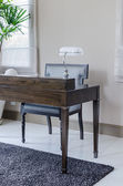 Wooden work desk and chair — Stockfoto