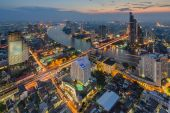Bangkok cityscape from top view at night — Stock Photo