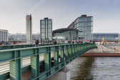 View of the Berlin Hauptbahnhof station from bridge  — Stock Photo