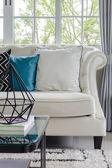 Luxury white sofa in living room — Stock Photo