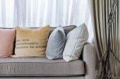 Living room design with pillows on sofa — Stock Photo