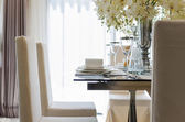 Table set in dinning room at home — Stock Photo