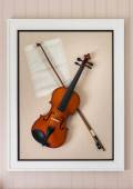 Violon with fiddlestick decoration  — Stock Photo