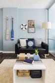 Interior design blue  living room — Stock Photo