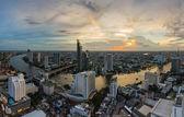 Bangkok cityscape and Chaophraya River panorama — Stock Photo