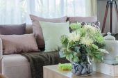 Plant in glass vase on wooden table in living room — Stock Photo