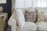 Beige color sofa and pillows in living room  — Stock Photo