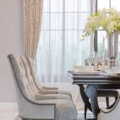 Luxury dinning room with classic chairs style — Stock Photo