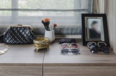 Dressing table with female's accessories — Stock Photo