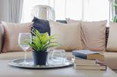 Plant in black vase with glass on plate in living room — Stock Photo