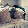 Many of pillows on sofa with blanket in living room at home — Stock Photo #67730735