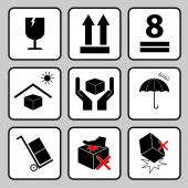 Care icon packaging symbols — Stock Vector