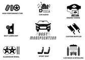 CAR MODIFICATION signs — Stock Vector