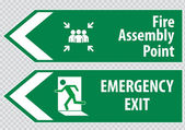 Emergency exit Signs — Stock Vector