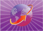 Illustration of arrow around Earth map — Stock Vector