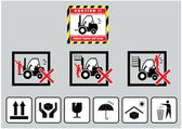 Forklift caution and cardboard signs — Vector de stock