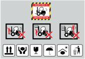 Forklift caution and cardboard signs — Stockvektor