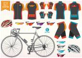 Bike or Bicycle clothing and equipment — Stock Vector