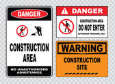 Site  or construction safety signs — Stock Vector