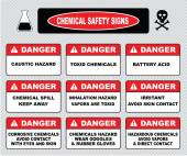 Chemical safety signs set — Stock Vector