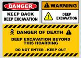 Deep excavation warning sign — Stock Vector