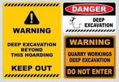 Deep excavation  warning signs — Stock Vector