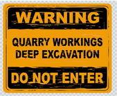 警告サインの採石場の仕組み — ストックベクタ