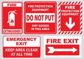 Fire warning signs set — Stockvektor