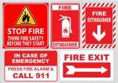 Fire warnings signs set — Stock Vector
