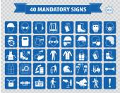 Mandatory, construction safety  icons — Stock Vector