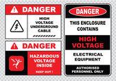 Znaki bezpieczeństwa elektrycznego — Wektor stockowy