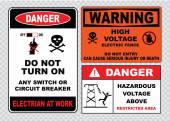 High voltage or electrical safety signs — Stock Vector