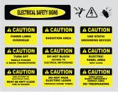 Electrical warning signs — Stock Vector