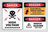 Segnali di pericolo alta tensione — Vettoriale Stock