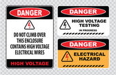 High voltage warning signs — Stock Vector