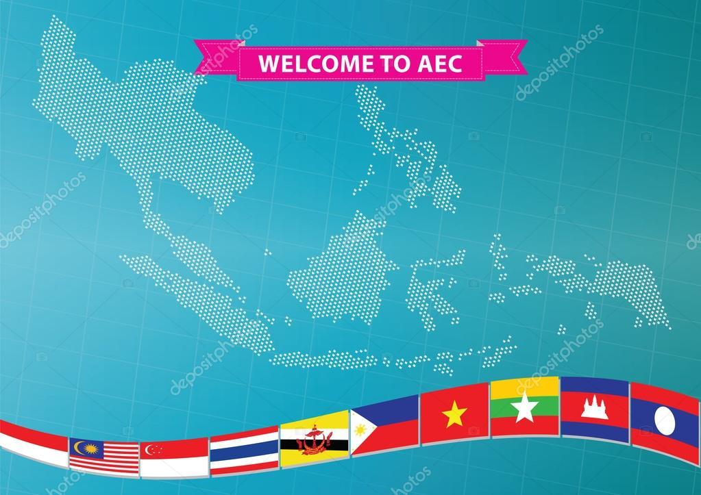 世界地图的东盟旗帜 — 图库矢量图像08 coolvector