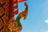 Naga Statue on the temple roof northern of Thailand — Stock Photo