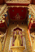 Standing Golden Buddha statue in temple ,Thailand — Stock Photo