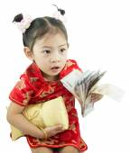 Happy Chinese new year .Cute Asian Girl In Tradition Chinese — Stock Photo